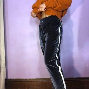 Xersion Velvet Sweatpants M Blue White Side Strip